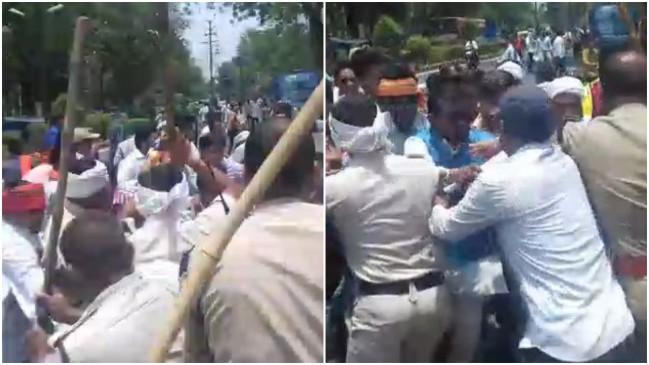 छात्रवृत्ति घोटाले को लेकर छात्रों ने किया प्रदर्शन, पुलिस ने बरसाए डंडे