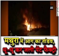 मथुरा की पेंट फैक्ट्री में लगी आग, दमकल की 5 गाड़ियों ने पाया आग पर काबू