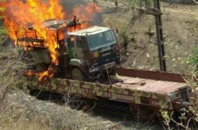 बैतूल में सेना की मालगाड़ी में लगी आग, सेना के 10 ट्रक हुए खाक