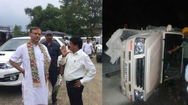 सड़क दुर्घटना में बाल-बाल बचे केन्द्रीय मंत्री जंयत सिन्हा, एएसआई का टूटा हाथ