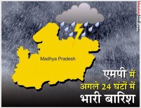 मध्यप्रदेश के अधिकांश जिलों में 24 घंटे तक भारी बारिश का अलर्ट जारी