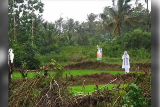 कर्नाटक के खेतों में चील-कौए भगा रहे पीएम मोदी और अमित शाह