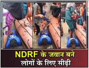 NDRF कर्मी बना सीढ़ी, पीठ पर पैर रखकर नाव में उतरे लोग- देखें वीडियो