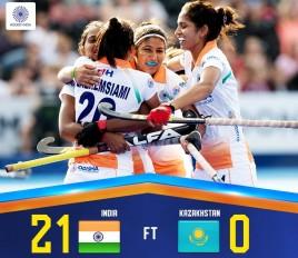 एशियन गेम्स में भारतीय महिला हॉकी टीम का धमाका, कजाकिस्तान को 21-0 से रौंदा
