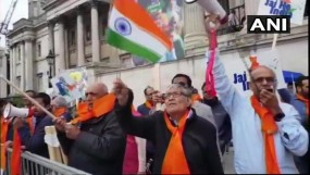 लंदन: खालिस्तान समर्थकों की रैली के विरोध में भारतीय मूल के लोगों ने किया प्रदर्शन