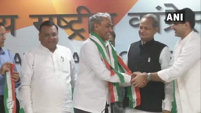राजस्थान: पूर्व IPS भाजपा सांसद हरीश मीणा ने थामा कांग्रेस का दामन