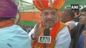 अमित शाह का इंदौर में रोड शो, बोले- अयोध्या में भव्य राम मंदिर बनना चाहिए