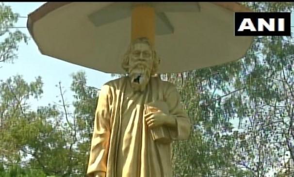 पश्चिम बंगाल में असामाजिक तत्वों ने टैगोर की प्रतिमा तोड़ी, एक गिरफ्तार