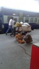रेलवे स्टेशन परजमीन पर रख बेचे जा रहे फल, नियमों की उड़रहीधज्जियां