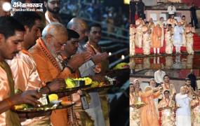 मेगा रोड शो के बाद गंगा आरती में शामिल हुए मोदी, कल दाखिल करेंगे नामांकन
