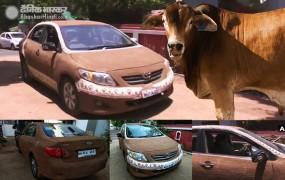गर्मी से बचने के लिए महिला ने गोबर से ढंक दी पूरी कार, सोशल मीडिया पर वायरल