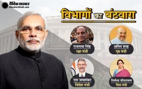 मंत्रियों को मिले विभाग : शाह को गृह, राजनाथ को रक्षा, सीतारमण को वित्त मंत्रालय