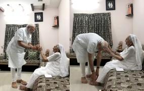 प्रचंड जीत के बाद मोदी ने लिया अपनी मां का आशीर्वाद, सरदार पटेल को माल्यार्पण भी किया