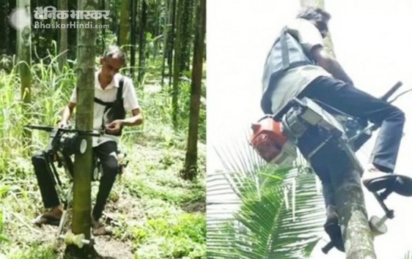 कर्नाटक के 48 वर्षीय किसान ने पेड़ पर चढ़ने वाली बाइक का किया आविष्कार