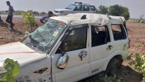 स्कार्पियो पलटी, पीएसी जवान की मौत, 7 घायल