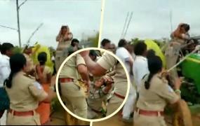 तेलंगाना में TRS कार्यकर्ताओं की गुंडागर्दी, महिला पुलिसकर्मी पर लाठियों से हमला