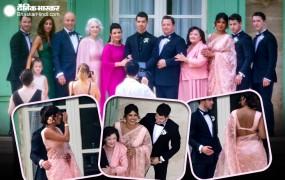 अपने जेठ की शादी में प्रियंका का देसी लुक, गुलाबी साड़ी मेंलग रही कमाल