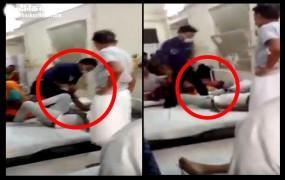 बेड पर चढ़कर डॉक्टर ने मरीज को मारे लात-घूंसे, सोशल मीडिया पर वीडियो वायरल