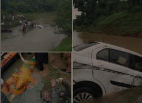 उफनते नाले में बही कार, दो महिला शिक्षिक और ड्राइवर की मौत