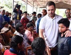केरल बाढ़: वायनाड के राहत शिविर पहुंचे राहुल, पीड़ितों को मदद का भरोसा