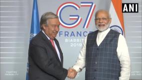 G-7 सम्मेलन में UN महासचिव से मिले मोदी, पर्यावरण और आतंकवाद पर हुई चर्चा