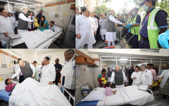 PM मोदी के जन्मदिन पर 'सेवा सप्ताह शुरू', शाह-नड्डा ने एम्स में बांटे फल
