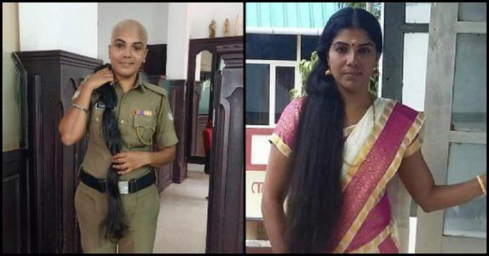 कैंसर पीड़ितों के लिए महिला पुलिस अधिकारी ने दान किए अपने घुटने तक लंबे बाल