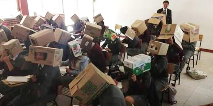 परीक्षा में विद्यार्थियों को कार्डबोर्ड बॉक्स पहनाकर बैठाया, जानें क्यों
