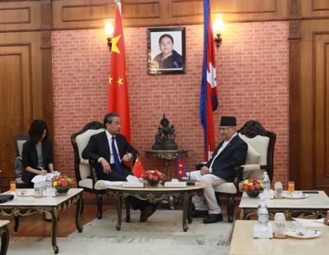 नेपाल के प्रधानमंत्री से मिले वांग यी
