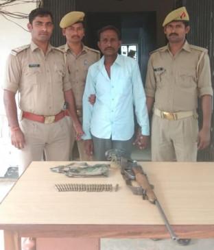 पुलिस से मुठभेड़ में पकड़ा गया डकैत गौरी यादव का साथी, 315 बोर की रायफल,दो दर्र्जन कारतूस बरामद