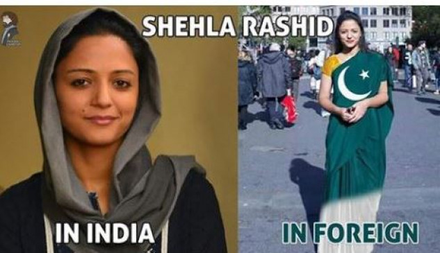 Fake News: शेहला रशीद ने पहनी पाकिस्तानी झंडे वाली साड़ी ?