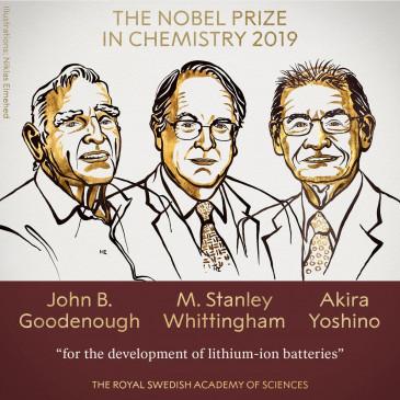 तीन वैज्ञानिकों को मिला केमेस्ट्री का नोबल, लिथियम-आयन बैटरी का किया था डेवलपमेंट