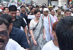 कांग्रेस का मत प्रतिशत बढ़ने से प्रियंका ने जताई खुशी