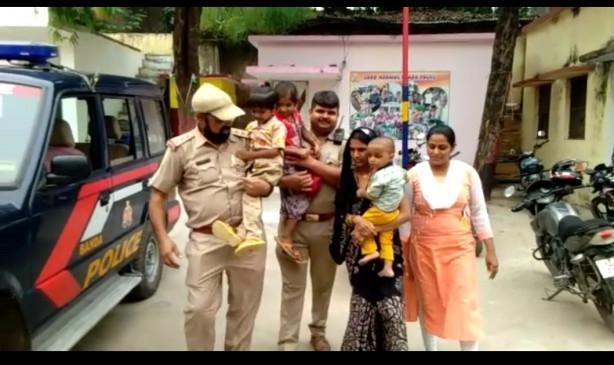 उप्र : 3 मासूमों संग आत्महत्या करने जा रही महिला को पुलिस ने बचाया