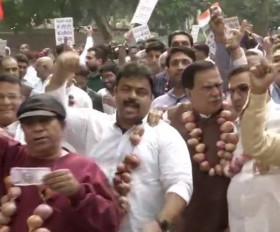 दिल्ली: प्याज की माला पहनकर कांग्रेस ने किया विरोध प्रदर्शन