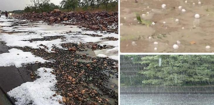 देश के कई राज्यों में मौसम का बदला मिजाज, बारिश के साथ गिर ओले, गिरा तापमान