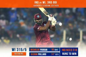 Ind vs WI 3rd ODI: पूरन और पोलार्ड का धमाका, विंडीज ने भारत को 316 का लक्ष्य दिया