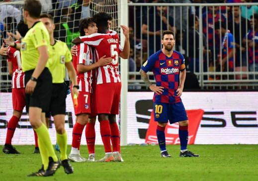 फुटबॉल: एटलेटिको मेड्रिड पांच साल बाद सुपर कप के फाइनल में, बार्सिलोना को हराया