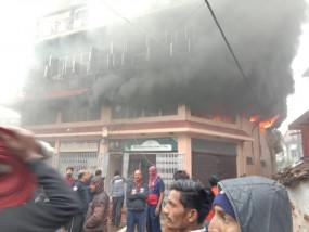 भीषण आगजनी - चार मंजिला भवन में नहीं थे सुरक्षा के इंतजाम, , घंटों बाद पाया काबू