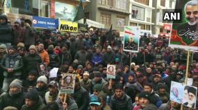 लद्दाख: भारत में भी ईरानीजनरल सुलेमानी की मौत का विरोध प्रदर्शन