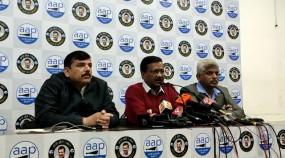 भाजपा के खिलाफ निर्वाचन सदन के बाहर बैठे संजय सिंह