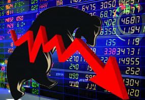 शेयर बाजारों में गिरावट, सेंसेक्स 285 अंक नीचे (राउंडअप)