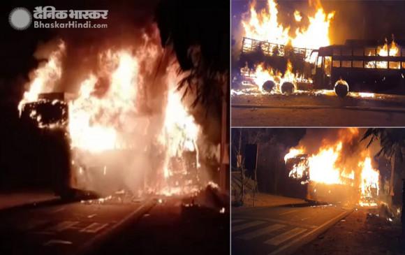 UP: कन्नौज में ट्रक से भिड़ंत होने पर बस में लगी आग, 50 यात्री फंसे