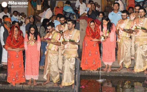 Video: काशी विश्वनाथ के दर्शन करने पहुंची सारा अली खान, मां अमृता के साथ की गंगा आरती