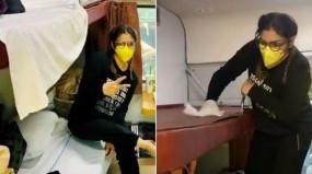 Coronavirus: कोरोना के डर से ट्रेन की सीट साफ कर रहीं हैं रवीना टंडन, देखें वायरल वीडियो