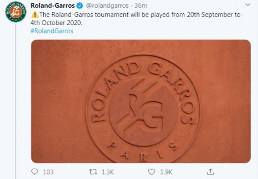 टेनिस : फ्रेंच ओपन सितंबर तक के लिए टला