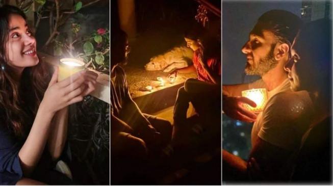 बॉलीवुड: अंधकार के बावजूद दीपों से रोशन हुआ देश, बी-टाउन सेलेब्स ने जलाए दीए