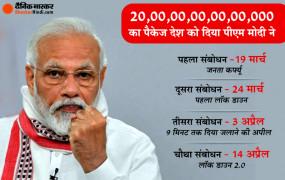 Modi Message: आत्मनिर्भर भारत अभियान के लिए 20 लाख करोड़ का पैकेज; पीएम मोदी बोले- 18 मई से होगा लॉकडाउन 4.0