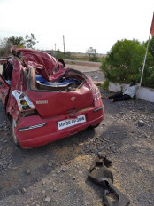 बेकाबू कार हवा में उड़ते हुए पेट्रोल पंप में घुसी, एक की मौत तीन घायल