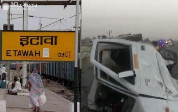 उत्तरप्रदेश: इटावा में दर्दनाक हादसा, ट्रक और पिकअप की भिड़ंत में 6 किसानों की मौत